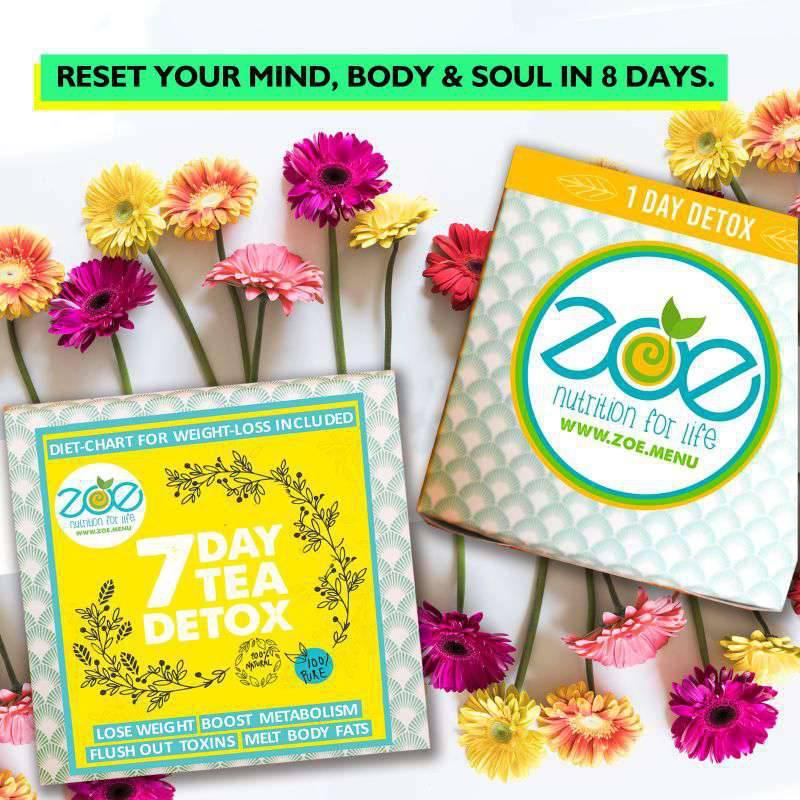 8 Day Detox Plan - 7 Day Tea Detox + One Day Detox. Lose 1-3 kgs in 8 days